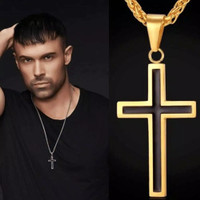Kalung Liontin Salib Stainless Steel Dua Warna untuk Pria dan Wanita