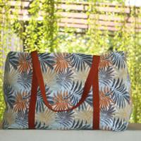 Tas Belanja Kanvas Besar / Tote Bag Kanvas Motif Palm Orange