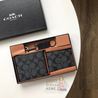 COACH Wallet Compact ID SIGNATURE BLACK Fullset 100% Original