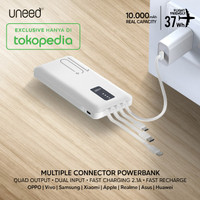 UNEED Powerbank 10000mAh Built in Cable Fast Charging 2.1A - UPB231 - Putih