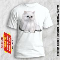 Kaos Kucing Putih untuk semua umur kualitas cetak gambar asli 3d - Putih, XS
