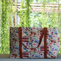 Tas Belanja Kanvas Besar / Tote bag kanvas motif london merah