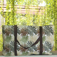 Tas Belanja Kanvas Besar / Tote Bag Kanvas Motif Palm Coklat