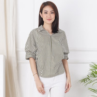 Ms Daisy Zoey Blouse Kasual Baju Atasan Wanita - Army Stripe, M