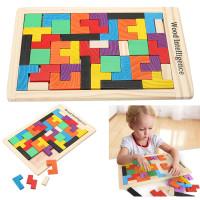 Mainan Edukasi Anak Puzzle Tangram Susun Balok Montessori Tetris Kayu