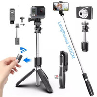 Tongsis Bluetooth Tongsis Tripod 4in1 Selfie Stick Remote Action Cam