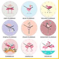 Jam Dinding Kayu Flamingo Pink Hiasan Animal Rumah Cantik Shabby Chic