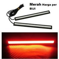 Lampu DRL LED Plasma COB import 17 CM Strip MERAH Depan Mobil Motor