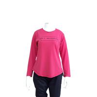 Kaos Wanita Lengan Panjang Warna Pink Tua