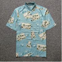 Kemeja Pria Batik Bay Tropical Palm High Tree Blue Island SS Shirt