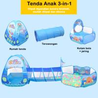 Tenda Anak 3 in 1 Motif Rain Drop Tenda Terowongan Kolam Mandi Bola