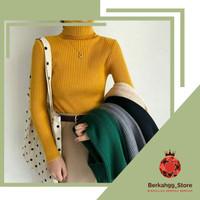 Baju Turtle Neck Wanita Polos Rajut Sweater Panjang PREMIUM New Daisy