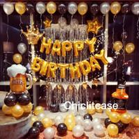 Set paket balon ulang tahun crown fancy gold beer whisky