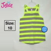 Justice Atasan/Tank Top Anak Green Grey Stripe Branded Original - 10