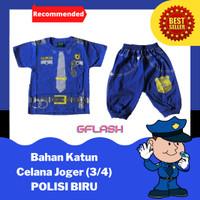 Baju Profesi Anak POLISI Biru Setelan Kaos Joger