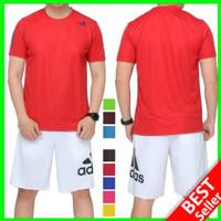 BAJU OLAHRAGA PRIA Kaos Lari Training Senam GYM RUNNING Fitness ADIDAS - Merah, L