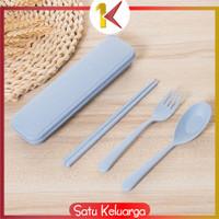SK-C176 Sendok Garpu Sumpit 3in1 Travel Cutlery Set Alat Makan Set Kor - Biru