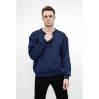 sweater basic lengan panjang baju sweater tebal biru dongker - L