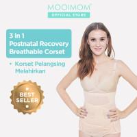MOOIMOM 3in1 Postnatal Recovery Corset Pelangsing Pasca Melahirkan - Cokelat, L