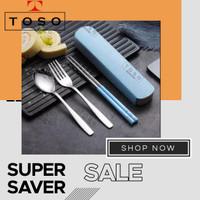 Paket Sendok Garpu Sumpit Stainless Makan Cutlery Set Traveling + Box