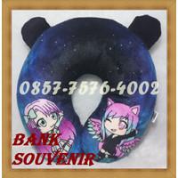 souvenir bantal leher printing custom plus kuping termurah