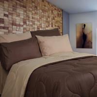 sprei set bedcover bahan STAR 160x200 - 200x200 POLOS COKLAT