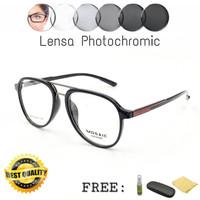 Frame Kacamata Mosaic Aviator Free Lensa Photochromic / Blueray