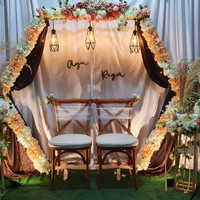 Dekorasi Lamaran Akad Wedding Hexagon Rustic Backdrop Photobooth M2