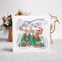 kartu ucapan pop up 3d selamat natal merry christmas pohon natal rusa