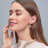 anting fashion fake double pierced pearl star earrings jan218