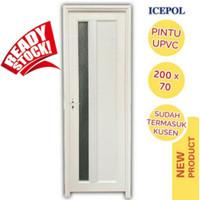 Pintu Kamar Mandi UPVC 200 × 70 + Kusen / Pintu elegan + Handle Pintu - engsel kanan