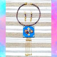 Kalung Etnik Wanita Tenun Mix Batik Embos dan Anting - Biru
