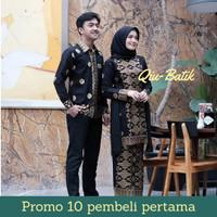 Batik Couple Kebaya Tunik Prada Hitam (Kemeja/baju, Blouse, Rok)