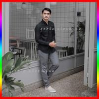 Kemeja Hitam Pria Lengan Panjang Cowok Polos Pakian Baju Kasual Formal