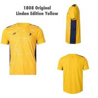 Jersey yonex 1808 coc yellow lin dan original sport badminton t shirt