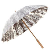 Payung Panjang Gagang kayu Motif Shanghai