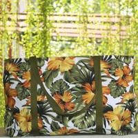 Tas Belanja Kanvas Besar / Tote Bag Kanvas Motif Bunga Sepatu Kuning