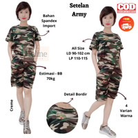 Floline Ols-Setelan Army Olahraga Wanita/Baju Senam Wanita Motif Army