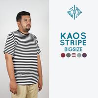 Kaos Garis Lengan Pendek Katun Stripes Unisex XXL Premium Quality