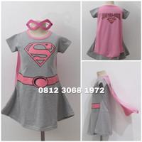 Baju Dress Kostum Superhero Girl Anak Perempuan SUPERGIRL Ada SAYAP