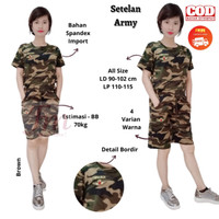 Femme Ols - Setelan Army Olahraga Wanita /Baju Senam Wanita Motif Army - Green