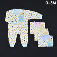 LIBBY Baju Kodok Panjang / Jumpsuit Rib Bayi/Baby Polkadot (0-3M)