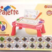 palette block 2 in 1 magnetic drawing board/mainan edukasi