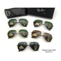 Kacamata RB aviator 3026 Sunglass pria wanita lensa kaca