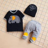 Setelan Baju Anak Bayi Laki Laki Usia 6 - 18 Bulan Gambar Gajah Katun