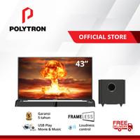 Polytron Cinemax Soundbar Frameless LED TV 43 inch PLD 43B8951