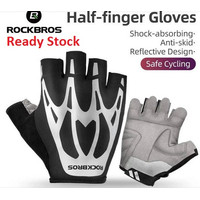Rockbros S227 Half Finger Shock Absorbed Reflection Sarung Tangan S227