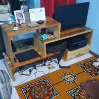 rak tv minimalis full kayu jati Belanda