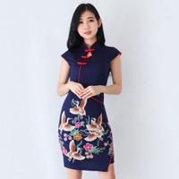 Baju Batik Wanita-Dress Batik Wanita Cheongsam Merak A608 size M dan L