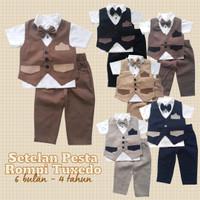 Baju Setelan Pesta Anak Bayi Laki Rompi Tuxedo Katun 6 Warna Model B